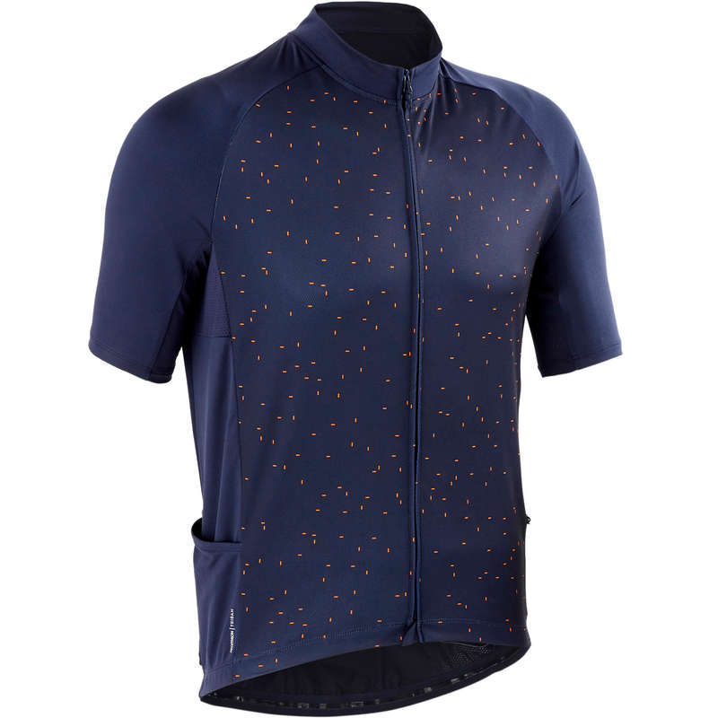 MEN WARM WEATHER ROAD CYCLING APPAREL Cycling - RC 100 Short Sleeve Cycling Jersey - Navy TRIBAN - Cycling