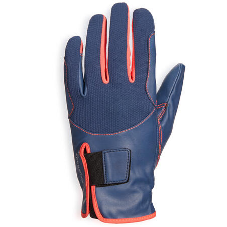 560 Kids' Horse Riding Gloves - Navy/Pink