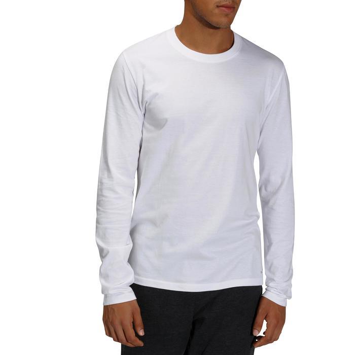 Camiseta Manga Larga Gimnasia y Pilates Domyos 100 Regular Hombre Blanco