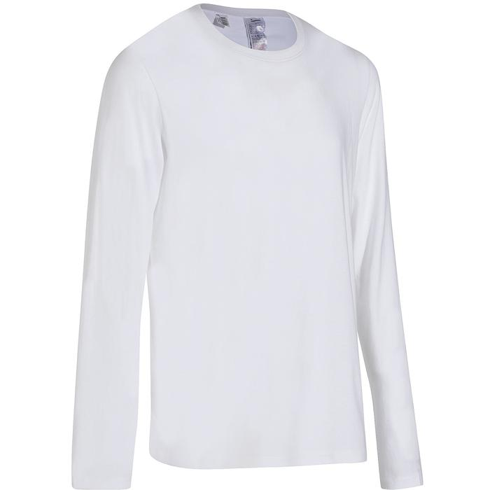 Camiseta manga larga Sport Pilates y Gimnasia suave hombre 100 regular blanco