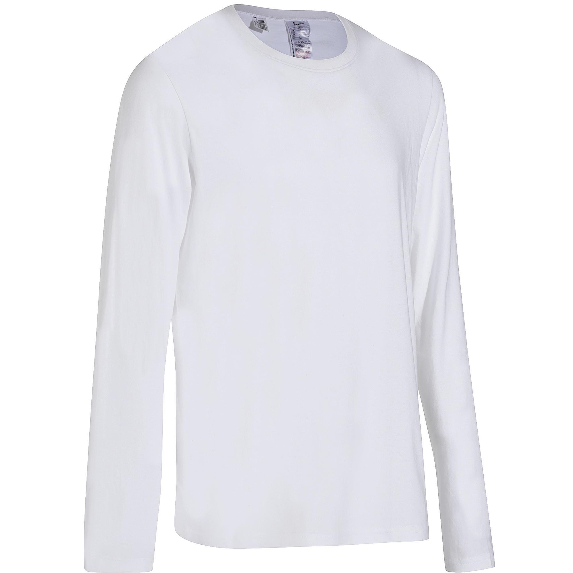 T shirt homme 100 manches longues blanc domyos