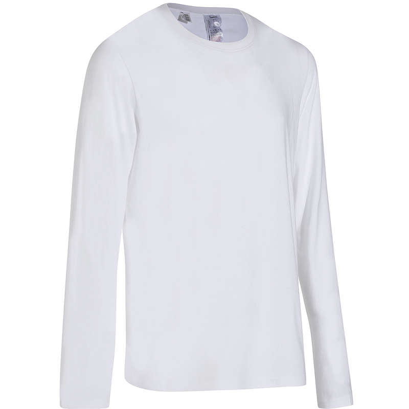 FÉRFI PÓLÓ, RÖVIDNADRÁG Fitnesz, jóga - Férfi hosszú ujjú póló 100-as DOMYOS - Szabadidős fitnesz ruházat