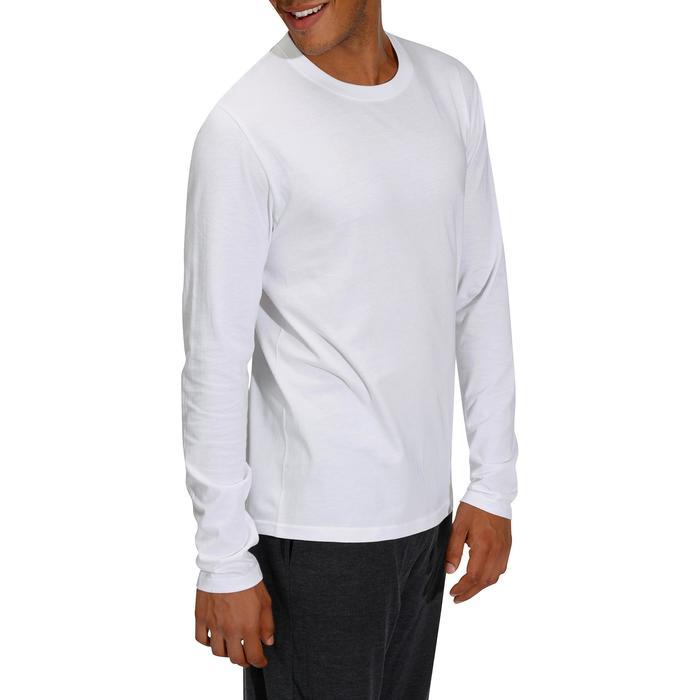T-shirt 120 lange mouwen regular fit pilates en lichte gym heren wit