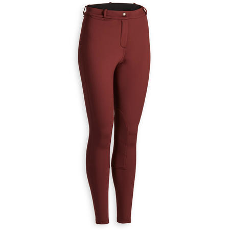 100 Warm Women's Horseback Riding Jodhpurs - Burgundy