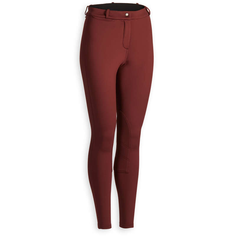 COLD WEATHER WOMAN RIDINGWEAR Horse Riding - 100 Warm Jodhpurs - Burgundy FOUGANZA - Horse Riding Clothes