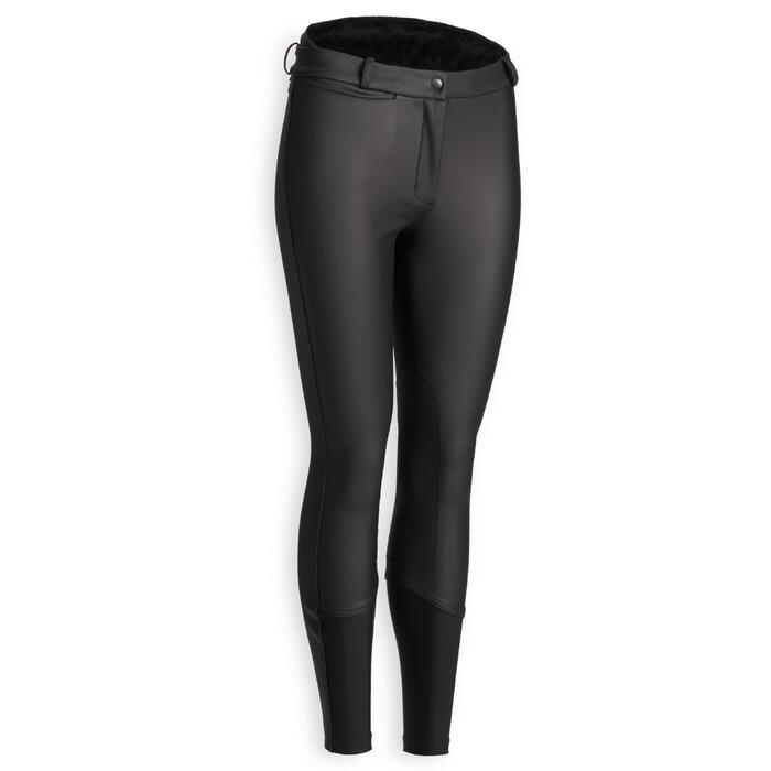Pantalon chaud imperméable et respirant équitation femme KIPWARM noir