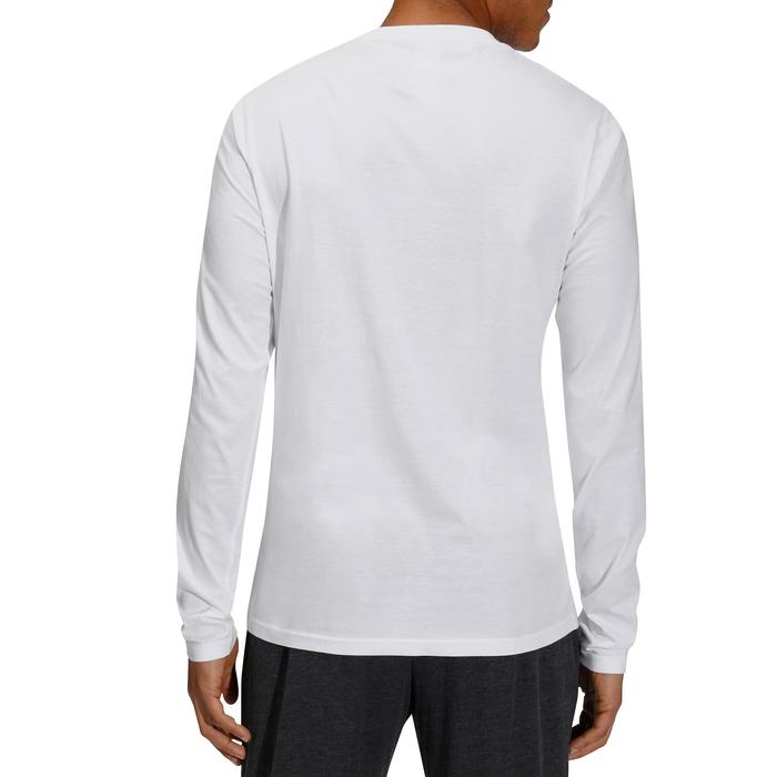 Camiseta Manga Larga Gimnasia Pilates Domyos 100 Regular Hombre Blanco