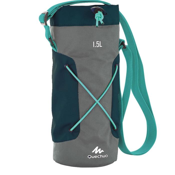 Funda isoterma para cantimplora senderismo 1,2 a 1,5 litros gris/azul