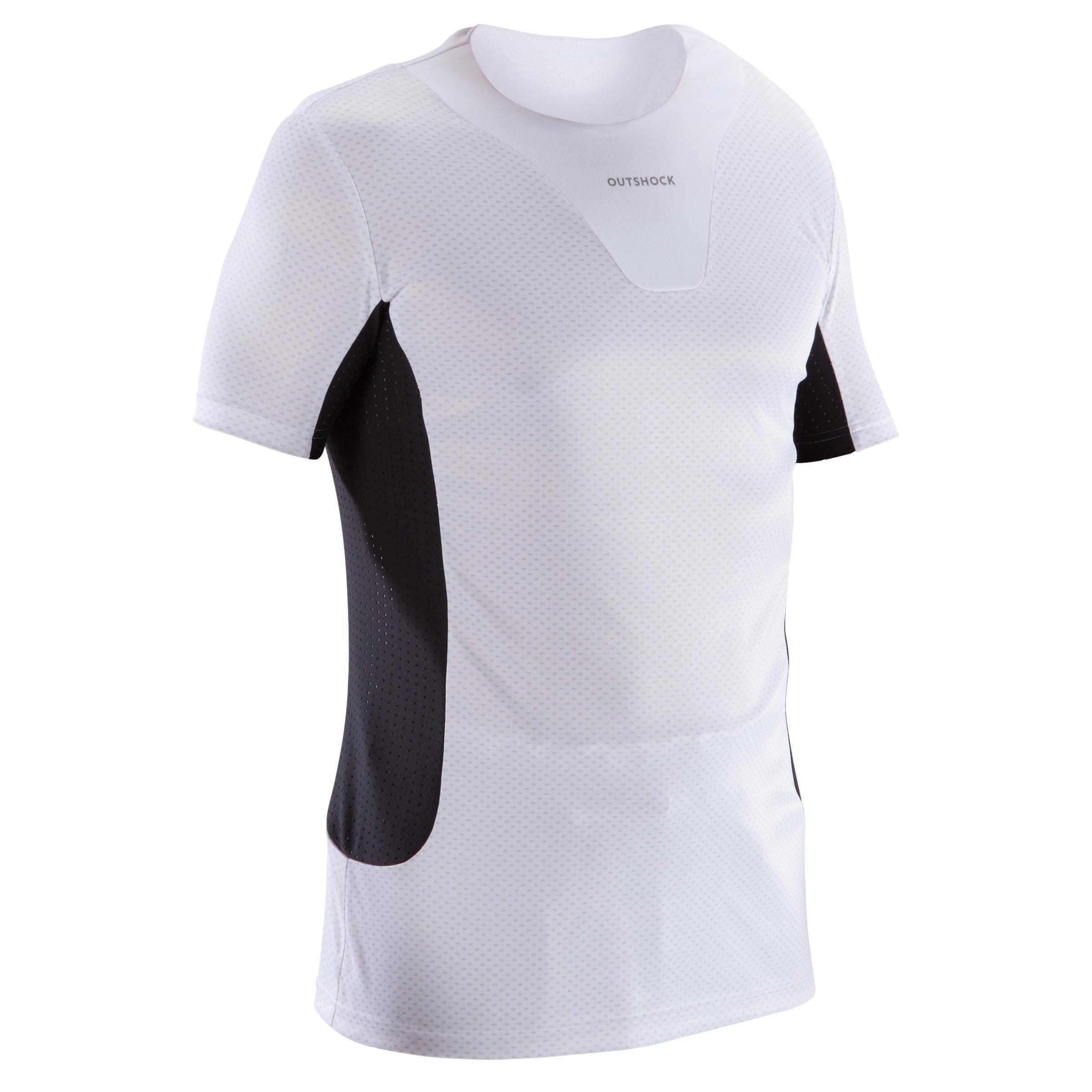 Outshock T-shirt onderkleding judo voor volwassenen wit en zwart thumbnail