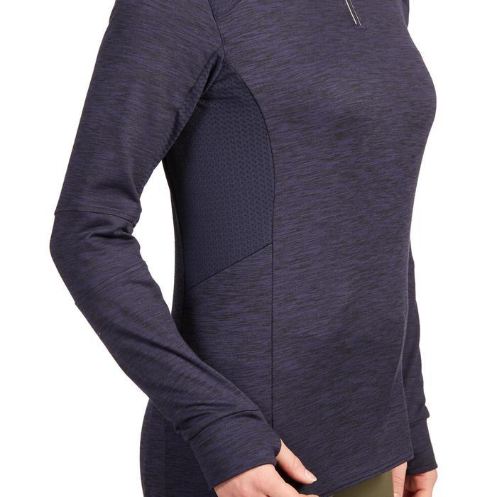 Warme damespolo met lange mouwen 500 Warm ruitersport marineblauw