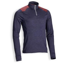 Reit-Poloshirt langarm 500 warm Herren marineblau/bordeaux