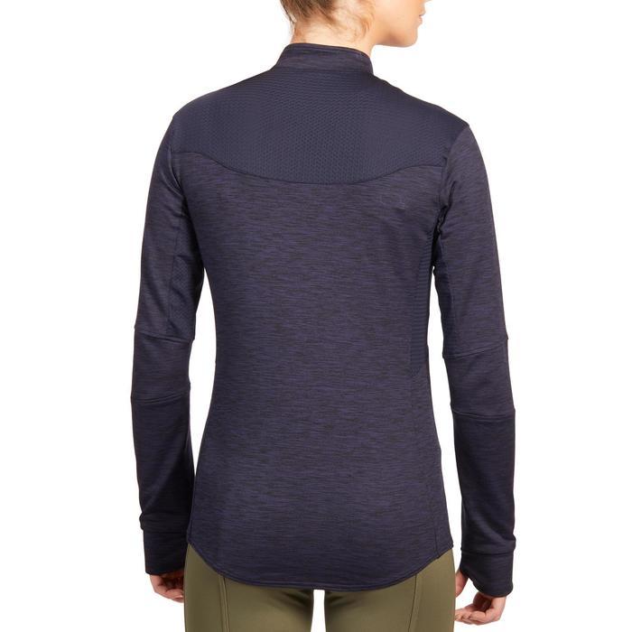 Warm poloshirt voor paardrijden dames 500 Warm lange mouwen marineblauw
