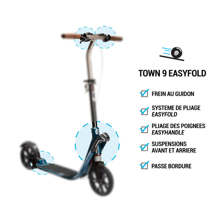 TROTTINETTE ADULTE TOWN 9 EF V2 BLEUE PETROLE