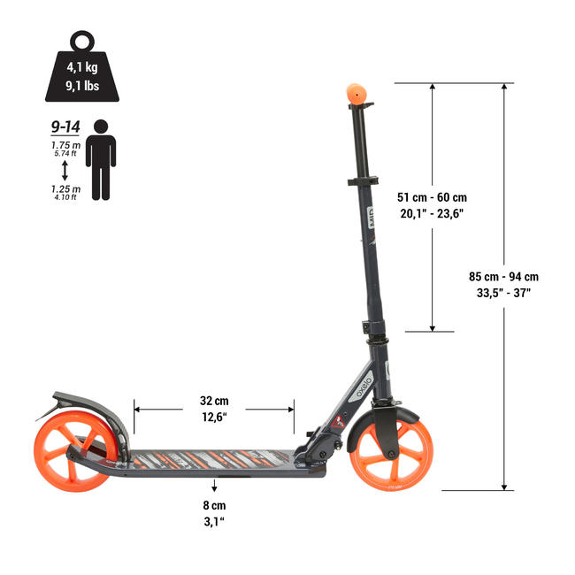 Kids' Scooter MID 7- Blue/Navy/Orange with stand