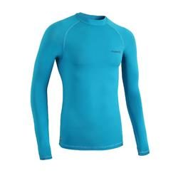 100 Men's Long Sleeve UV Protection Surfing Top T-Shirt - Sea Blue