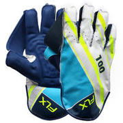 KID'S CRICKET WICKET KEEPING GLOVES, WKG 100, BLUE