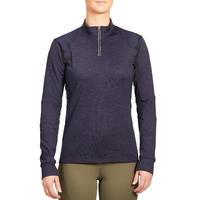 Women's Warm Long-Sleeved Horse Riding Polo Shirt 500 Warm - Navy
