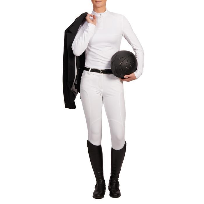 Damespolo met lange mouwen voor wedstrijden ruitersport warm 500 Comp wit