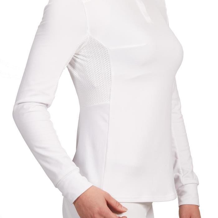 Reit-Poloshirt Langarm 500 Turnier warm Damen weiß