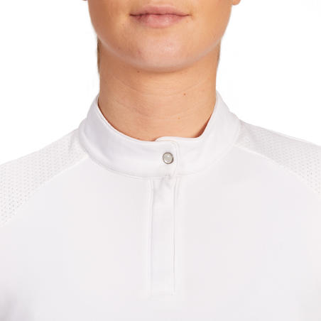 500 Comp Women's Horse Riding Long-Sleeved Warm Competition Polo Shirt - White