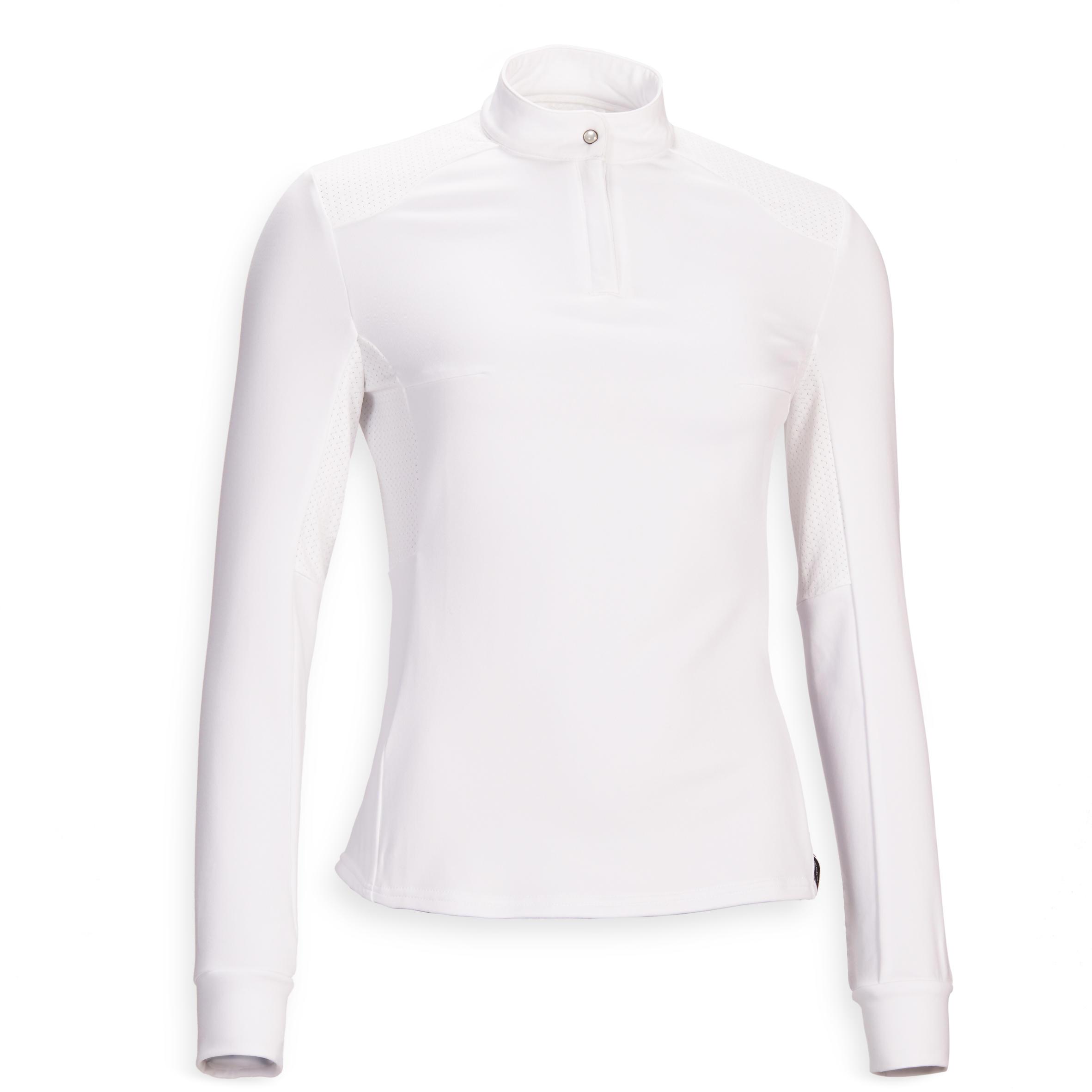 Bluză Polo 500 COMP alb Damă Fouganza Promoție