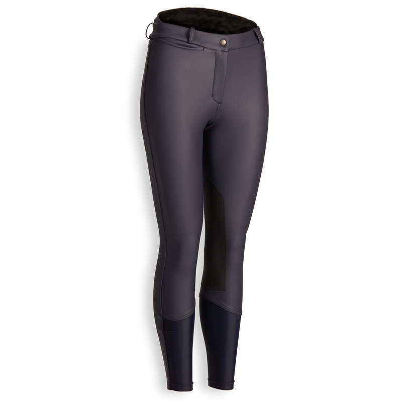 COLD WEATHER WOMAN RIDINGWEAR Horse Riding - Kipwarm Warm Breeches - Navy  FOUGANZA - Horse Riding Clothes