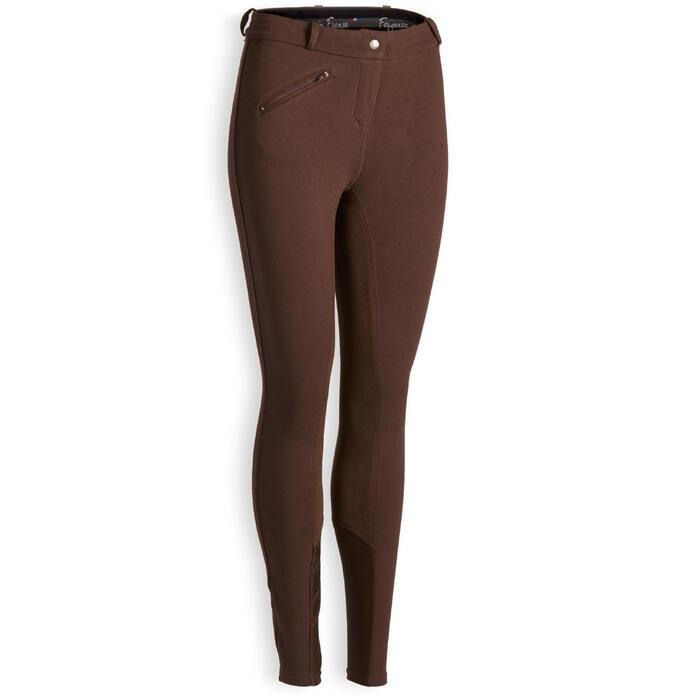 Pantalón con badana de equitación mujer 180 FULLSEAT marrón