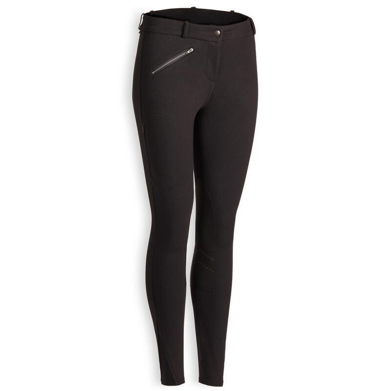 Pantalón equitación fouganza 140 WARM mujer negro cálido