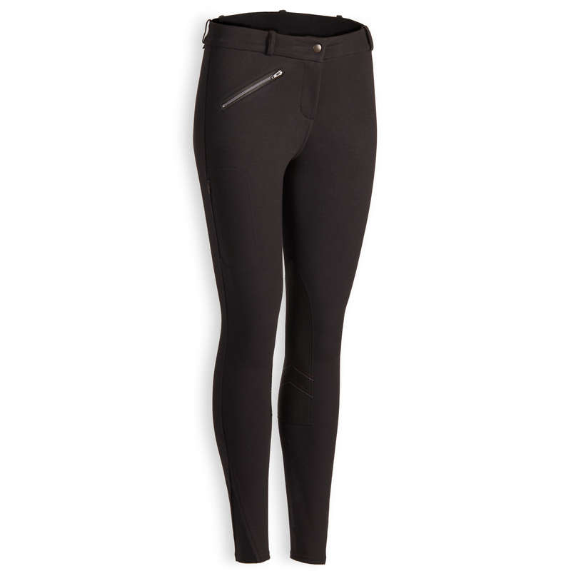 COLD WEATHER WOMAN RIDINGWEAR Horse Riding - 140 Warm Jodhpurs - Black FOUGANZA - Horse Riding Clothes