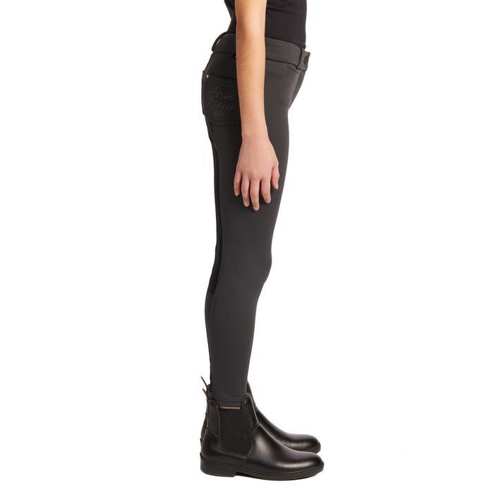 Pantalon chaud fond de peau équitation enfant 180 WARM gris foncé