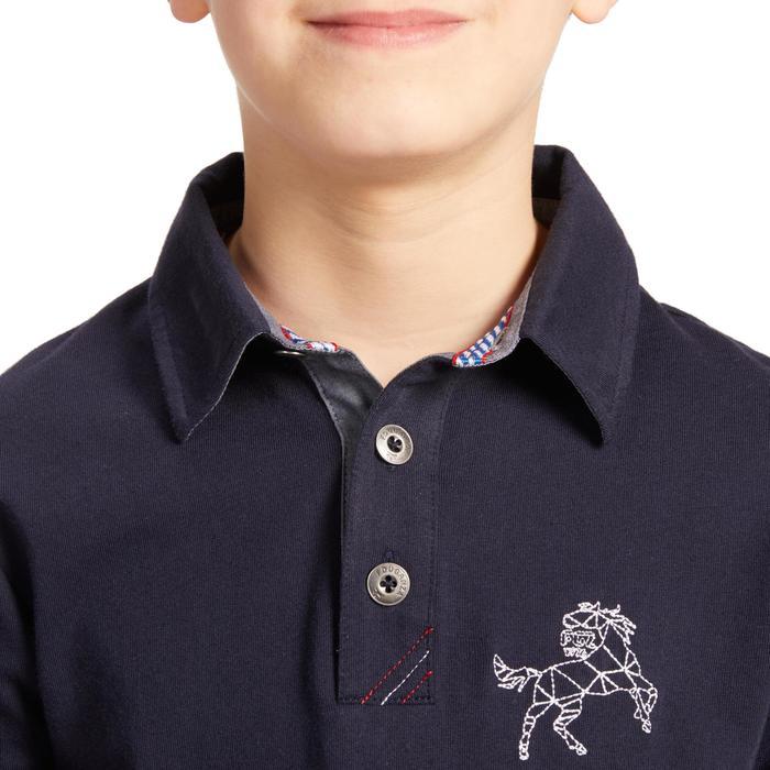 Polo Manga Larga Equitación Fouganza 140 BOY Niño Azul