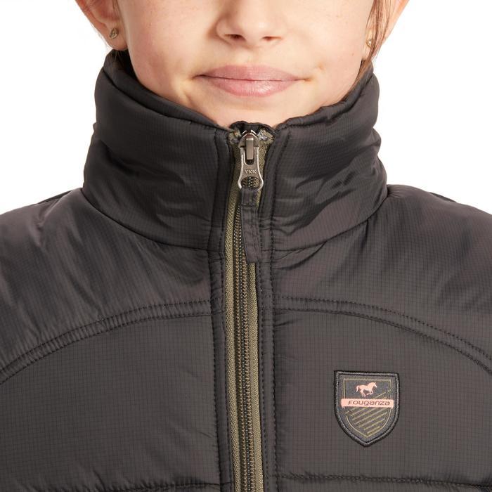 Gilet chaud sans manches équitation enfant 500 WARM gris/kaki