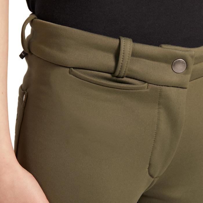 Pantalon chaud fond de peau équitation enfant 180 WARM kaki