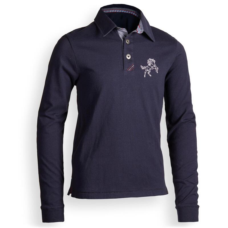 140 Boys' Horse Riding Long-Sleeved Polo Shirt - Navy