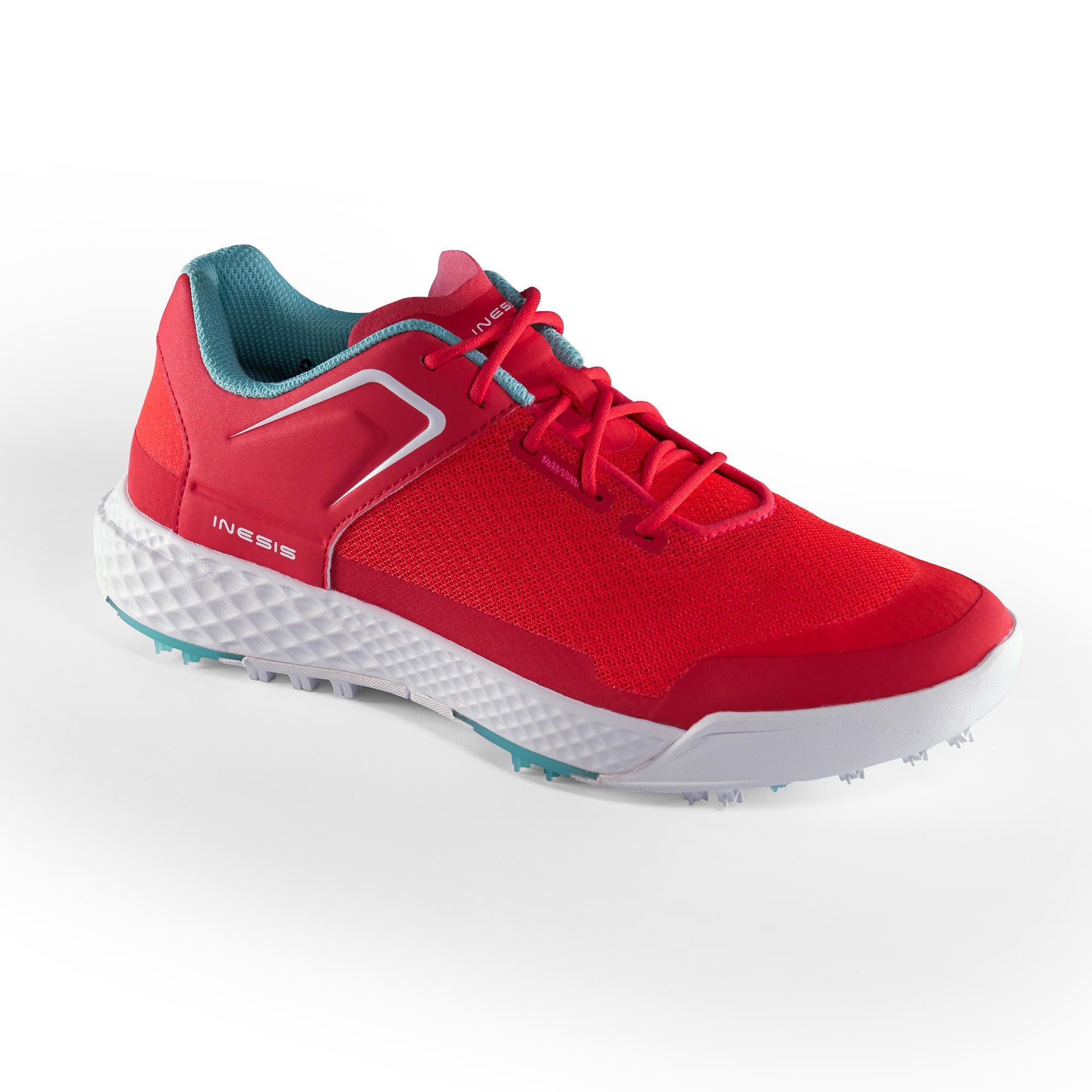 CHAUSSURES GOLF FEMME GRIP DRY ROUGES CORAIL - Inesis