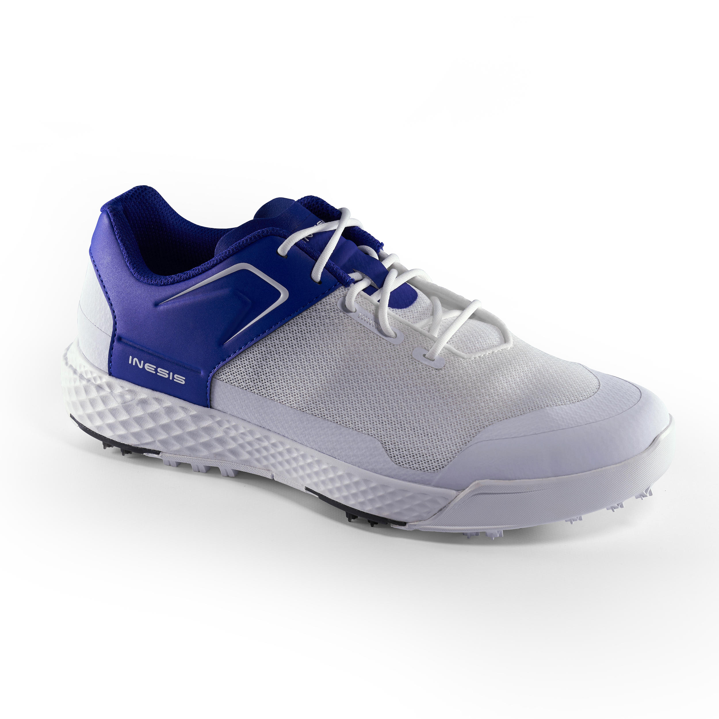 CHAUSSURES GOLF HOMME GRIP DRY BLANCHES ET BLEUES - Inesis