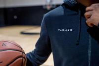 Zippered Hooded Basketball Jacket Black- Men's