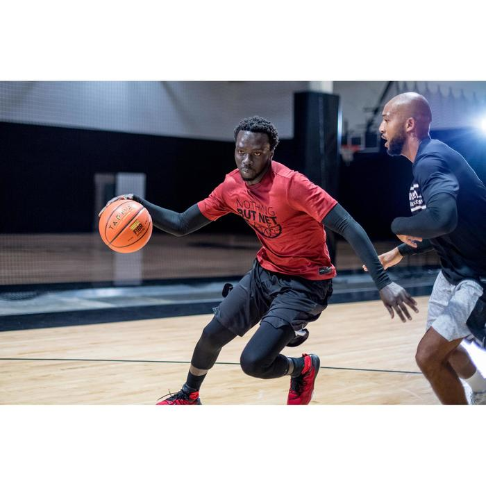 Basketballshirt 900 Herren mit integrierten Armlingen rot mit Print