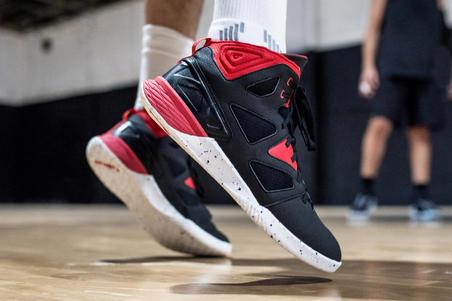 Chaussures basketball débutants Shield 300 noir/blanc/rouge