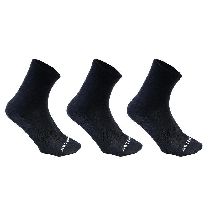 Vysoké tenisové ponožky RS160 modré 3 páry
