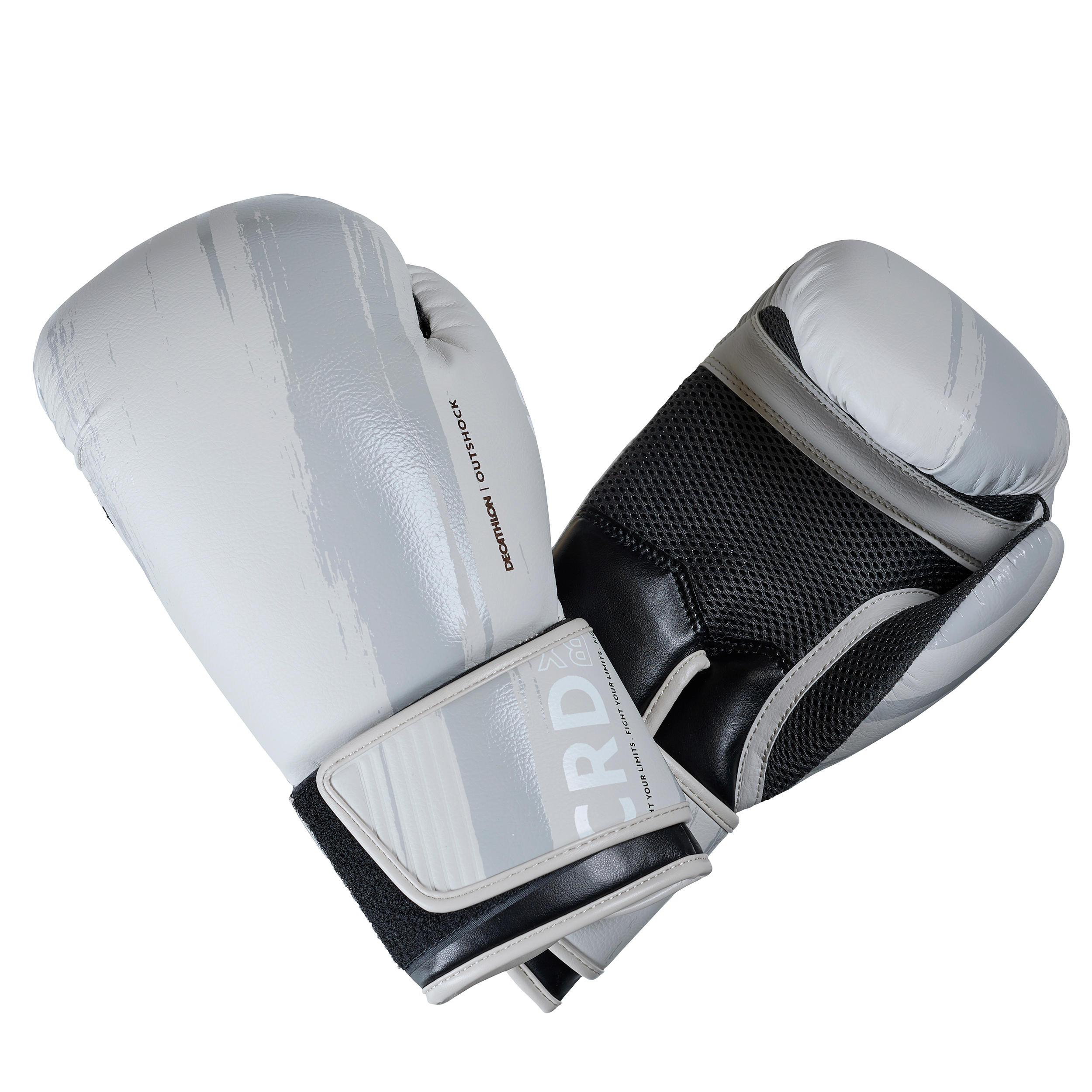 Gants de boxe 300 beige gants dentraînement débutant homme ou femme outshock