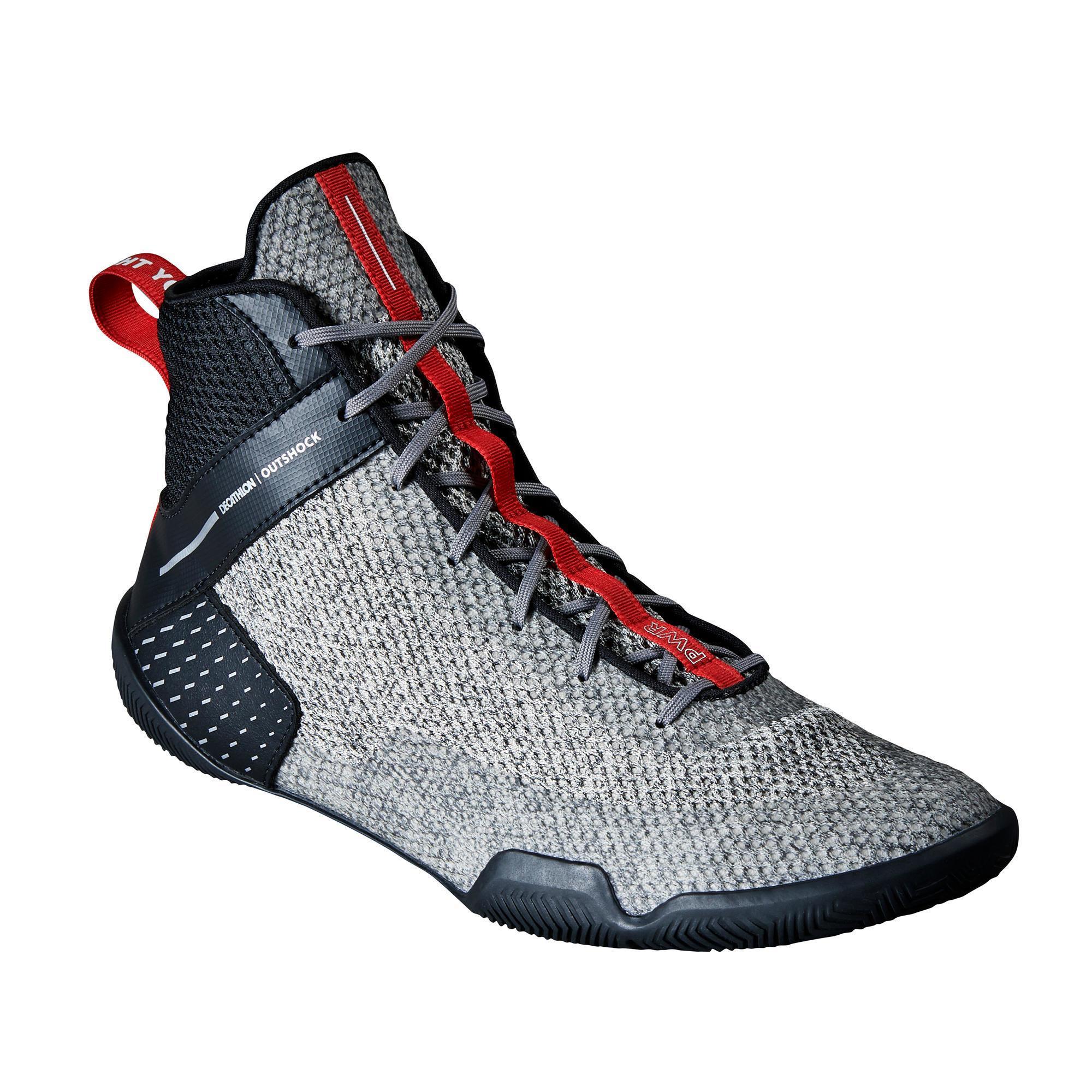 Boxschuhe 500 leicht und flexibel | Schuhe > Sportschuhe > Boxschuhe | Grau - Schwarz | Gummi - Ab | Outshock