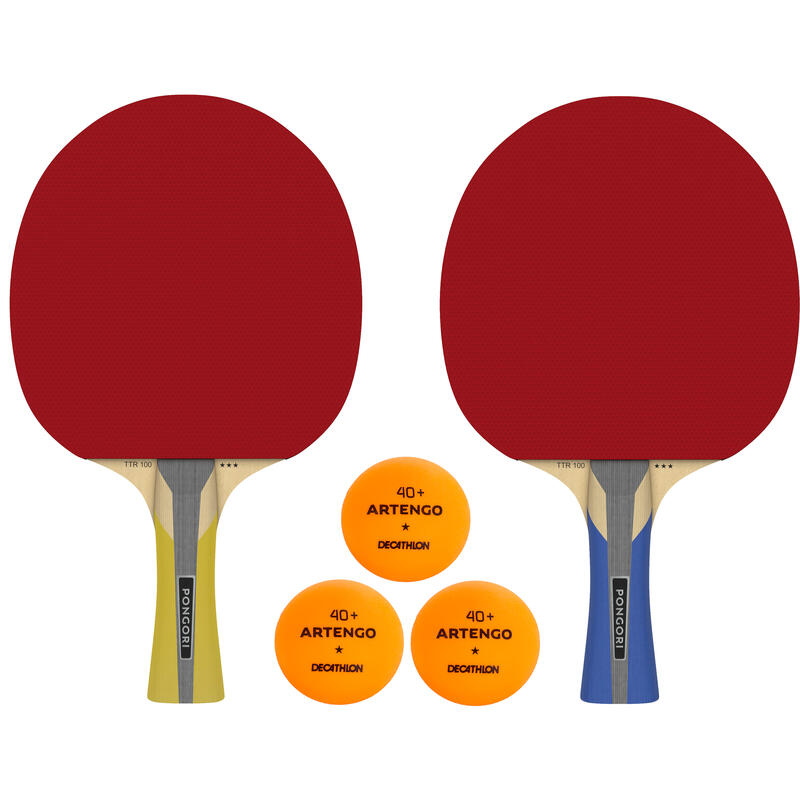 Set 2 Palete Tenis de masă TTR100 3* ALLROUND + 3 mingi portocalii TTB100* 40+