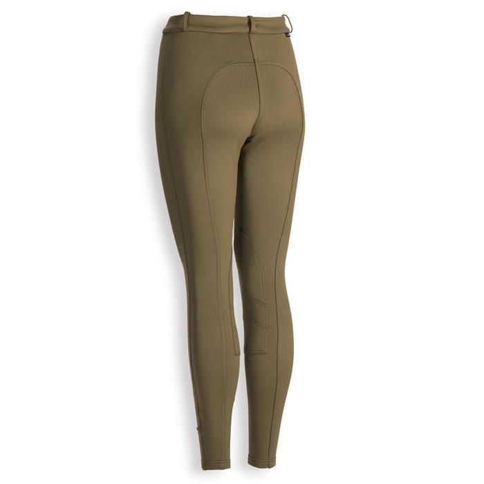 Pantalon chaud équitation femme 100 WARM kaki