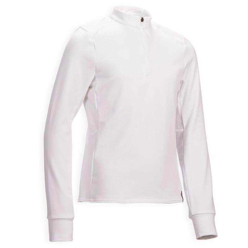 Polo concurso equitación fouganza 500 COMP niño blanco cálido manga larga