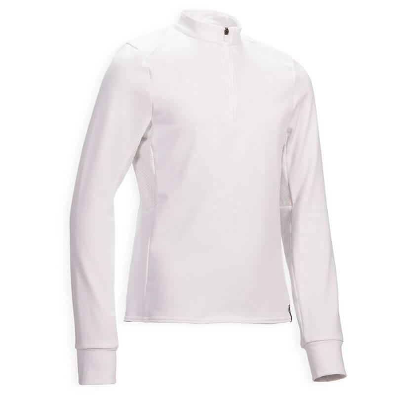 JEZDECKÉ ZÁVODNÍ OBLEČENÍ Jezdectví - DĚTSKÉ POLO 500 COMP BÍLÉ FOUGANZA - Oblečení pro jezdce