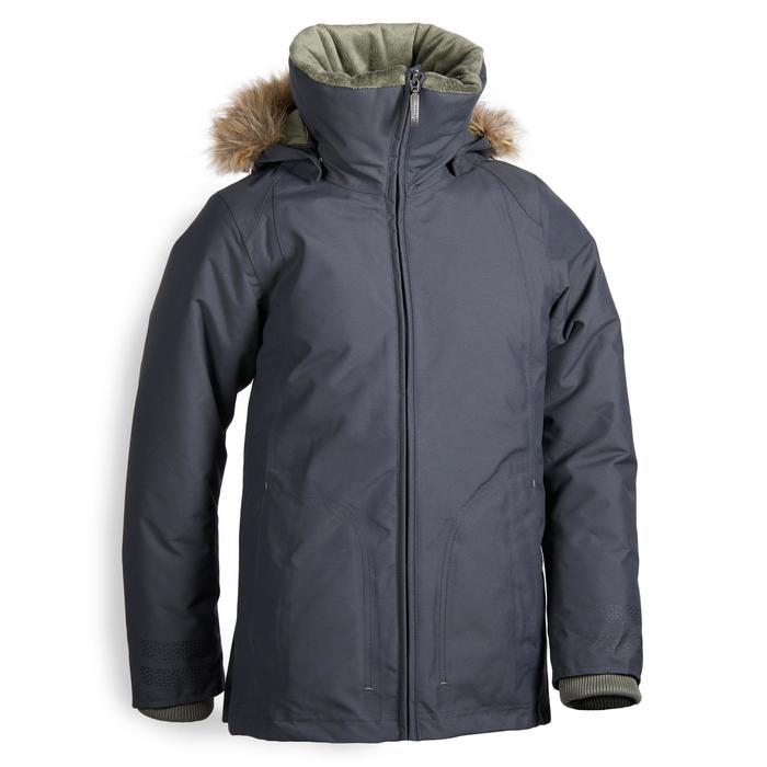 Parka chaude et imperméable équitation enfant 500 WARM gris/kaki