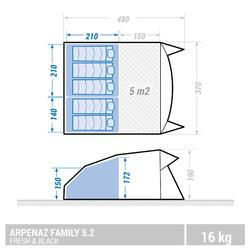 Familienzelt Stangenaufbau Arpenaz 5.2 Fresh&Black für 5 Personen in 2 Kabinen