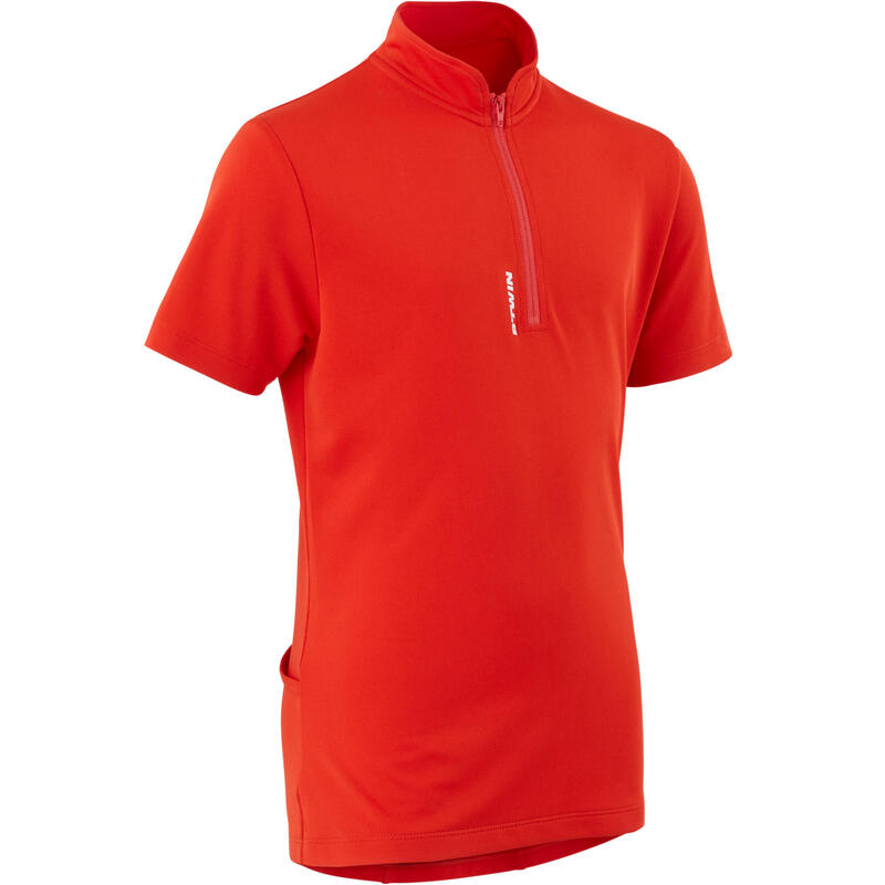 Camiseta de manga corta ciclismo infantil 100 rojo