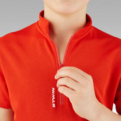 100 Kids' Short- Sleeved Cycling Jersey - Red